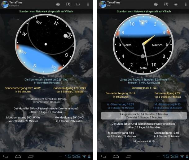 Neben der Uhrzeit zeigt TerraTime eine Reihe an Zusatzinformationen an.