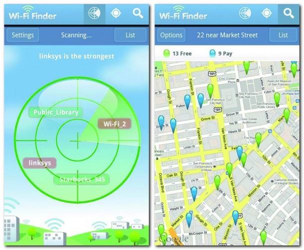 Auf der Übersichtskarte werden alle verfügbaren Netzwerke angezeigt, egal ob kostenlos oder kostenpflichtig.