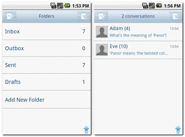Die eher unpraktische Einteilung in In/Outbox... (Bild links).