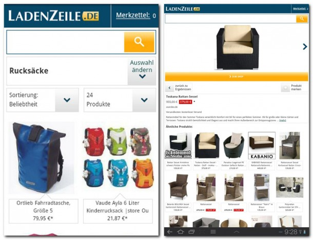 Das Angebot von Ladenzeile.de ist sehr Umfangreich. Die Anwendung macht das Shoppen per Smartphone zum Kinderspiel.