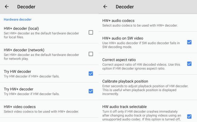 Hardware Decoder Options