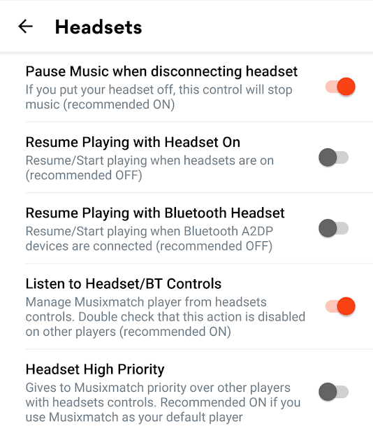 Musixmatch Headset Options