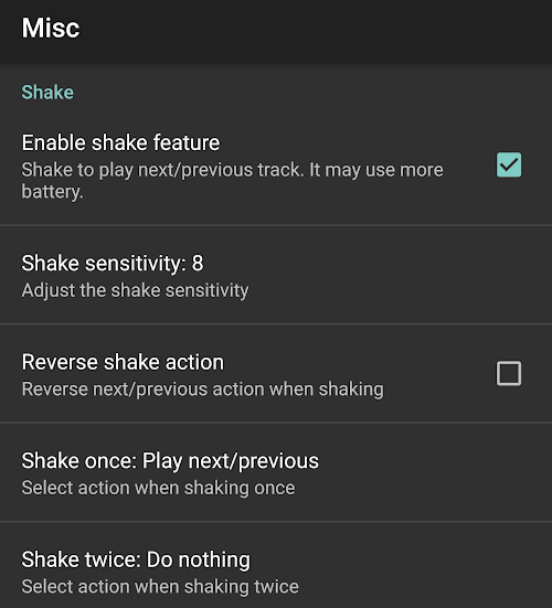 Shake Feature in jetAudio