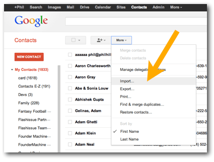 import android contacts to gmail