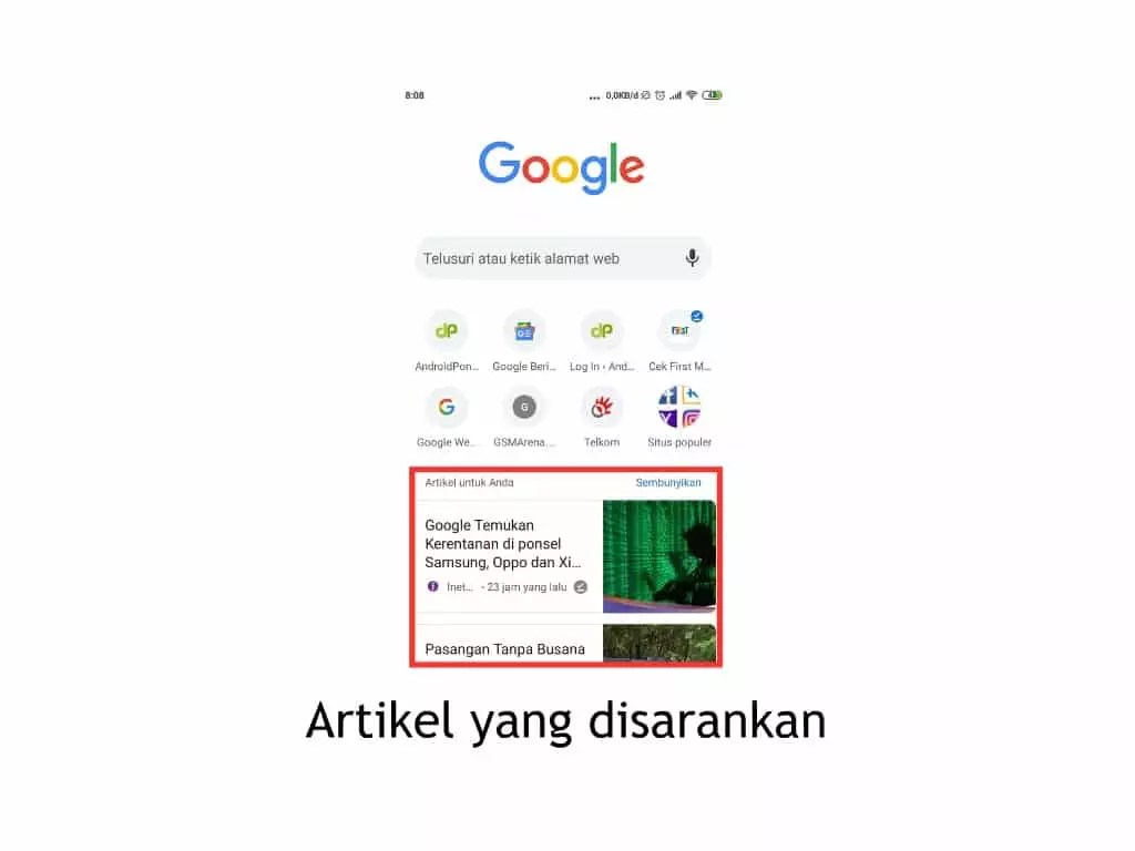 artikel disarankan google chrome