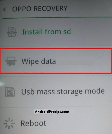 oppo wipe data option