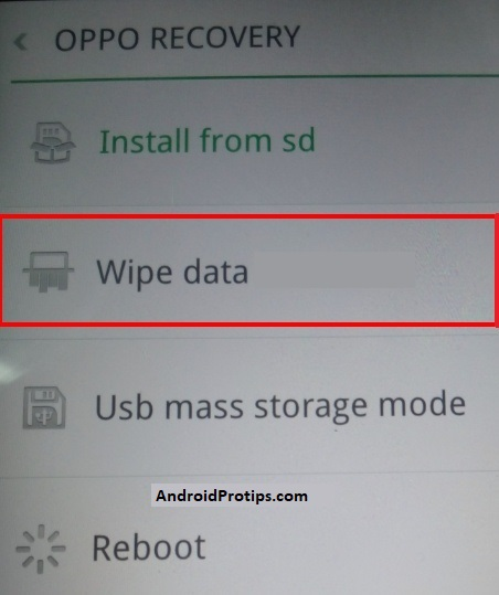 oppo wipe data option
