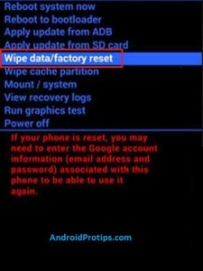 wipe data option