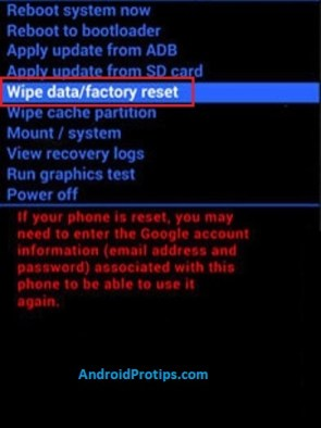 Android wipe data/factory reset in recovery mode.
