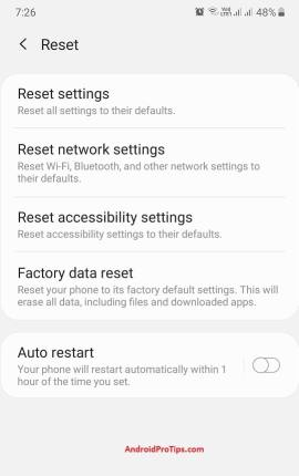 Android Factory data reset and reset network and accessibility settings