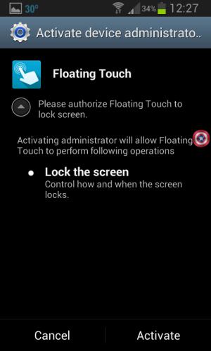 Floating Touch Lockscren Device Admin