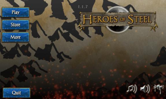 Heroes of Steel RPG Main Menu