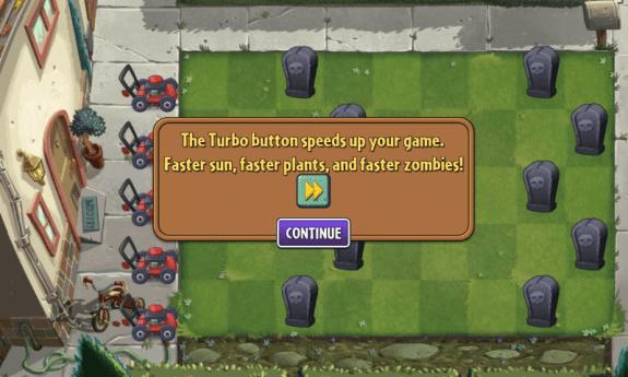 Plants vs Zombies 2  Turbo button