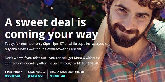Moto X $100 discount