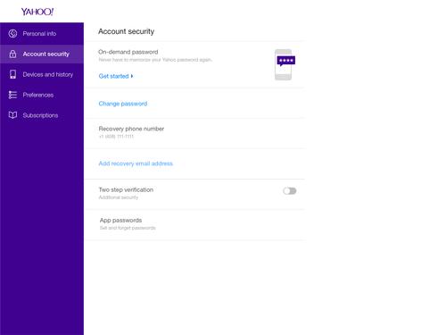 Yahoo On Demand Passwords