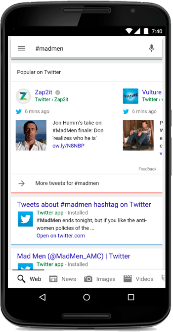 Twitter Google Search - Twitter announces that Real-time Tweets will be displayed in the Google Search app and Mobile Web