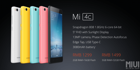 Xiaomi Mi 4c price and specs
