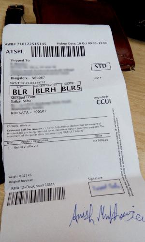 Redmi 2 Amazon Used phone sent pickup receipt privacy