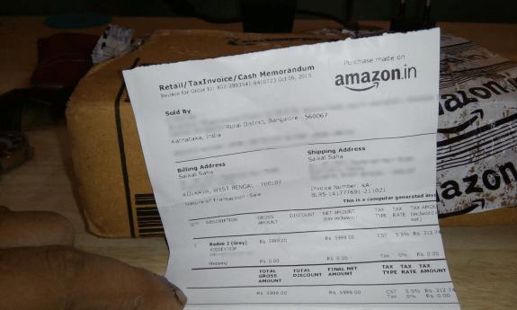 Redmi 2 Amazon Used phone sent receipt privacy