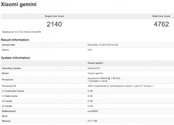 Xiaomi mi 5 gemini geekbench benchmark