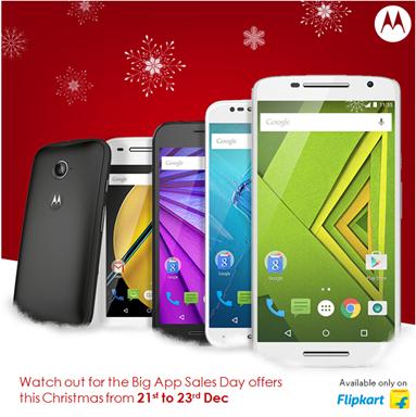 Motorola India Xmas offers 2015 MOTO E2 G3 X Play X Style