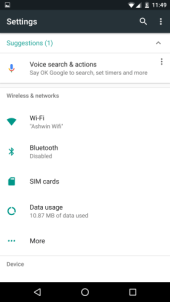 Android N Settings page