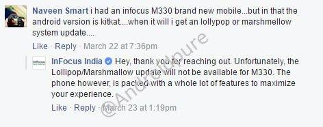 Infocus M330 Lollipop -marshmallow update