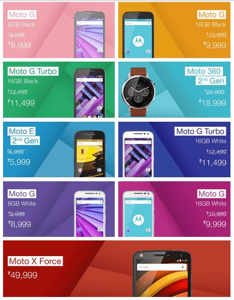 Moto on Amazon India discount