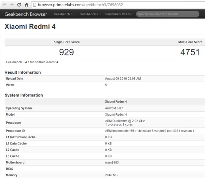 xiaomi Redmi 4 benchmark