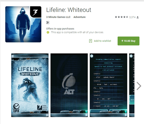 Lifeline Whiteout Android Sale - Lifeline: Whiteout is on sale for Rs. 10 in India ($0.10)