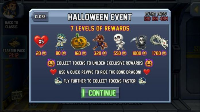 Jetpack Joyride Halloween Update rewards 4 - Jetpack Joyride Halloween update brings Bone Dragon, Grim Reaper costume, Jack-o'-lantern jetpack and more