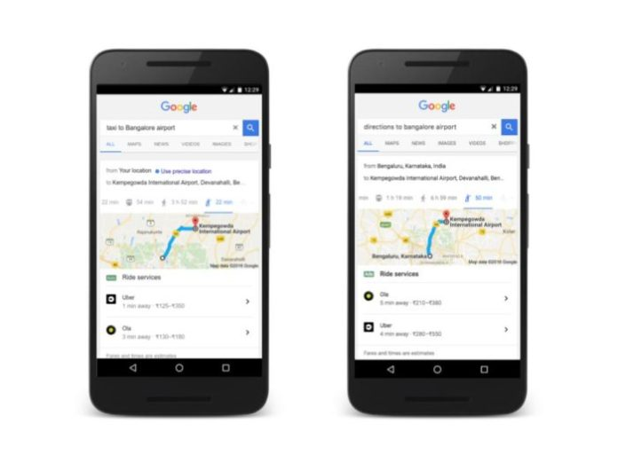 Ola Uber Google India e1476857141812 - Book an Ola or Uber directly from Google search results in India