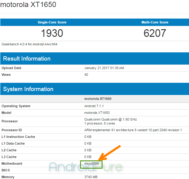 motorola XT1650 Snapdragon 835 Moto Z (2017) with Snapdragon 835 and 4 GB RAM spotted on Geekbench 1