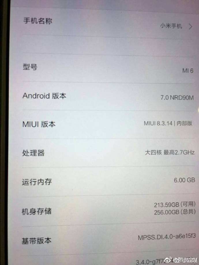 Xiaomi Mi 6 About Phone Specs - Alleged Xiaomi Mi 6 Render, About Phone and Price of variants leak