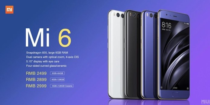 "Xiaomi Mi 6 Price - Xiaomi Mi 6 launched with 5.15"" FHD, SD 835, 6 GB RAM, 12 MP dual cameras, No Audio Jack"