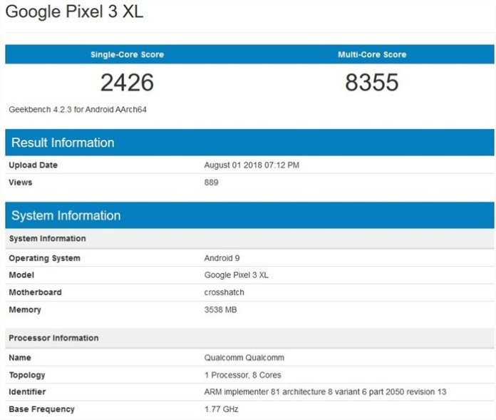 Pixel 3 XL benchmark leak