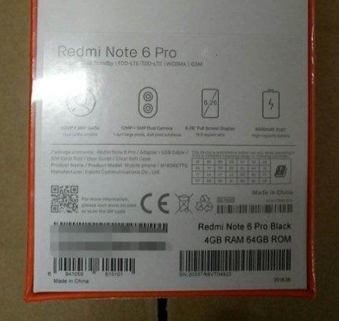 Redmi Note 6 Pro leak back panel