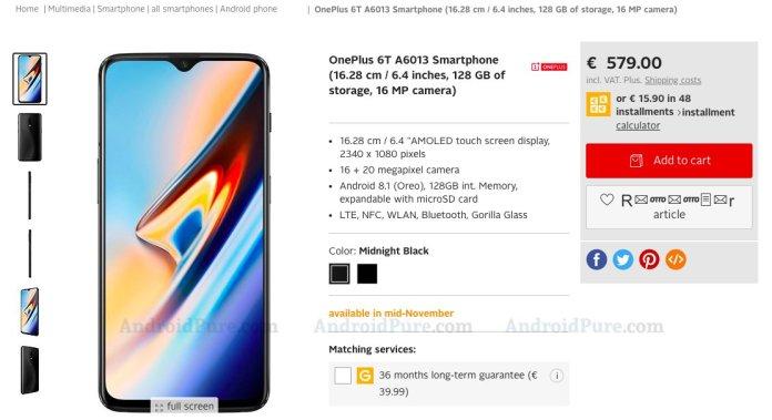 OnePlus 6T price leaked