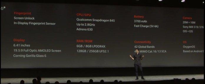 OnePlus 6T tech specs official