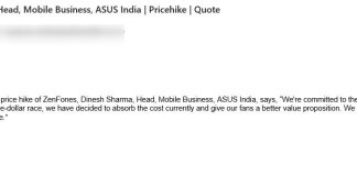 ASUS no Zenfone price hike in India