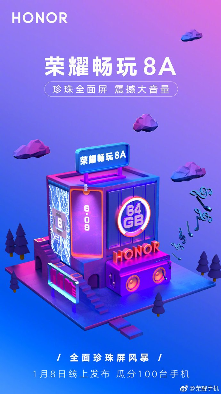 Honor 8A launch teaser