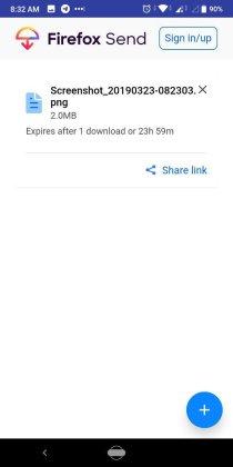 Firefox Send uploaded