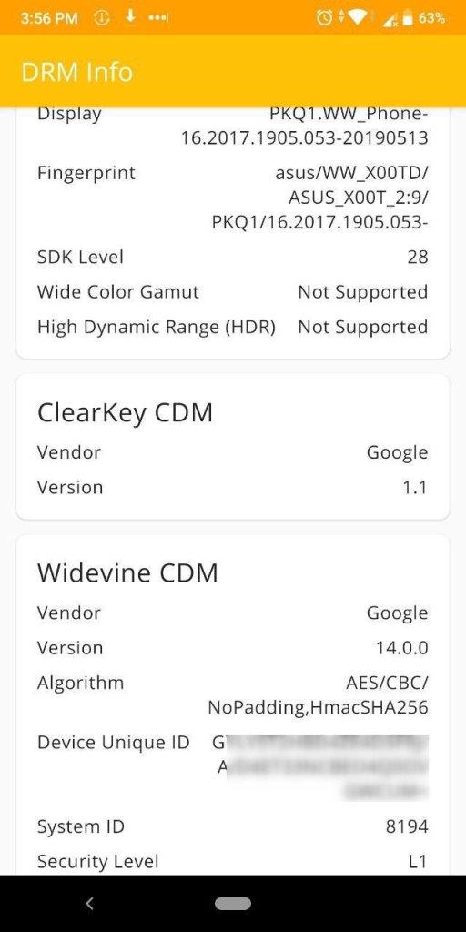 Zenfone Max Pro M1 Widevine level before it was downgraded