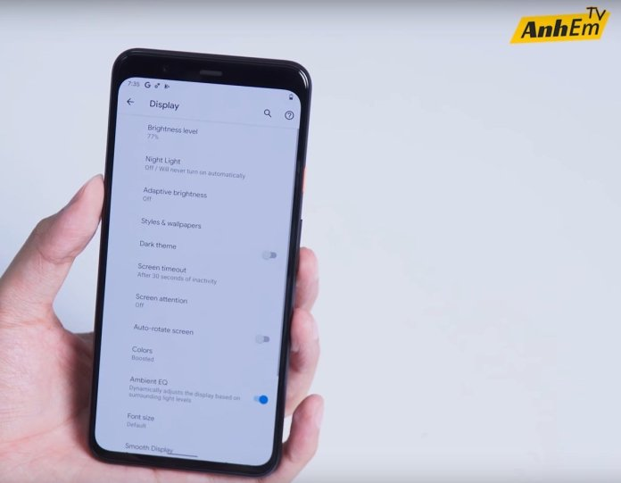 Google Pixel 4 leaked videos - display settings