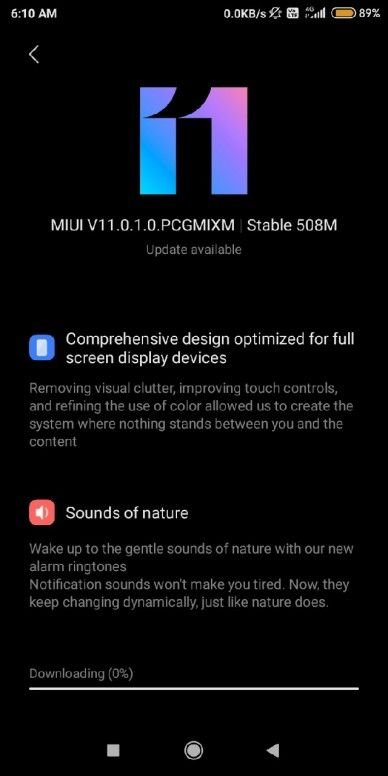 MIUI 11 Update for Redmi 6