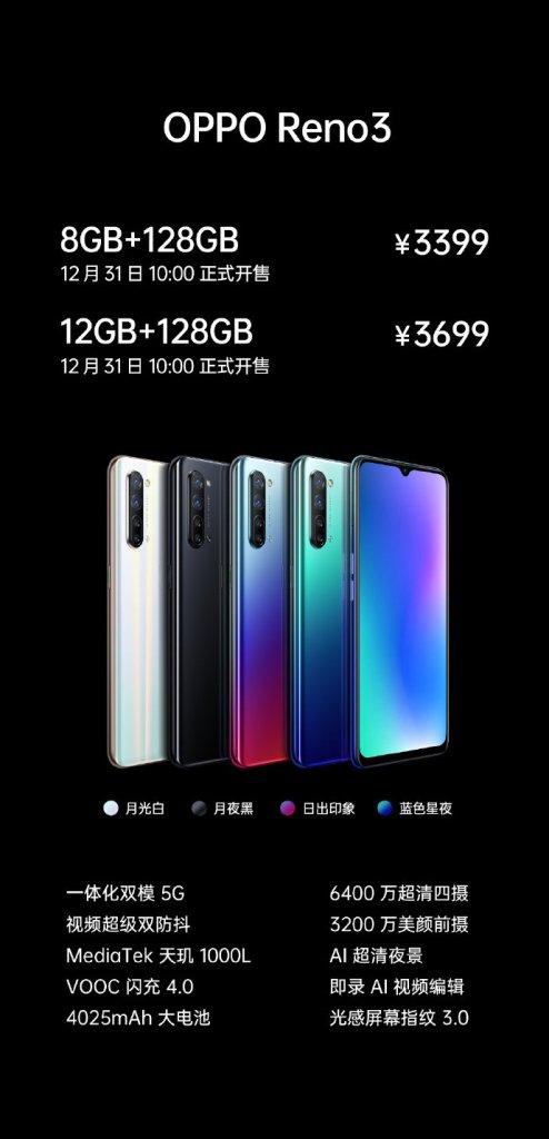 Oppo Reno3 Price In China