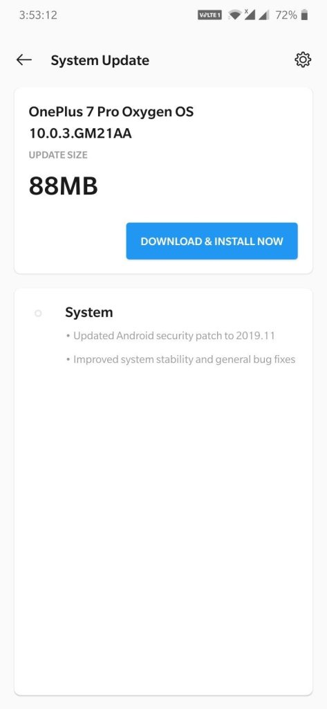 OxygenOS 10.0.3 update