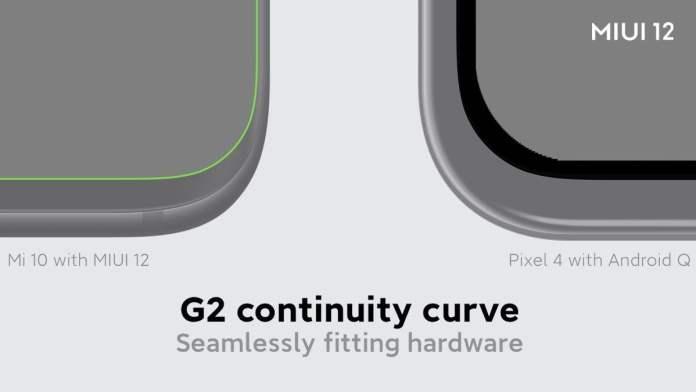 MIUI 12 G2 continuity curve