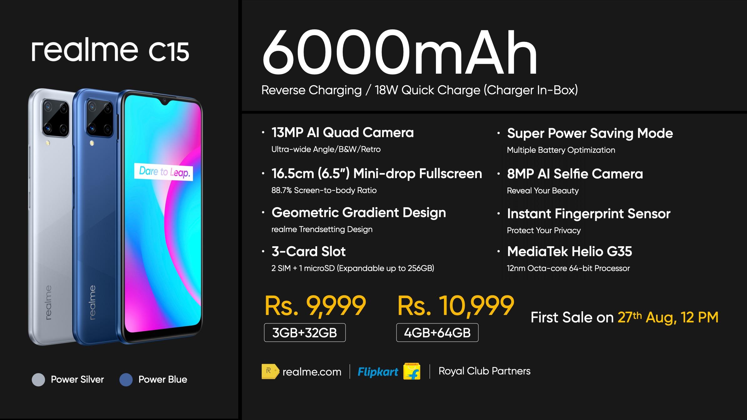 Realme C15 Price Specs