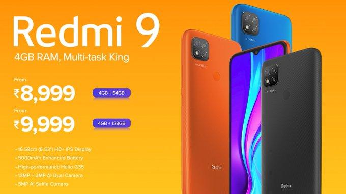 Redmi 9 price in India